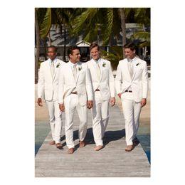 Best Tie For Blue Suit Australia - Ivory Wedding Tuxedos Notched Lapel Groomsmen Suit Men Suits For Prom Dinner Best Man Blazer(Jacket+Tie+Pants)