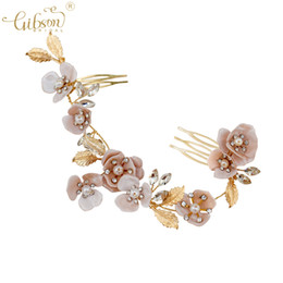 flower hair pin comb Canada - Elegant Headpiece Hair Jewelry Copper Bud Flower Photography Headdress Wedding Bridal Hair Comb Pins Headband