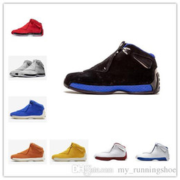 Discount cheap flights shoes - Cheap Men Retro 18s basketball shoes Orange Yellow Grey Red Blue Suede Black A18 Jumpman 18 flights sneakers tennis boot