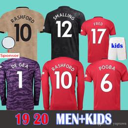 6bbee6056 MAN+KIDS 19 20 LUKAKU ALEXIS RASHFORD Soccer Jersey 2019 2020 POGBA MARTIAL De  Gea UTD MATIC United LONG Sleeve Goalkeeper Football Shirts