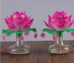 lotus lantern supplies UK - Buddhist Hall Supplies Plug in Warm Light Lotus Lantern Trumpet for Buddhist Tungsten Filament Changming Everlasting Light