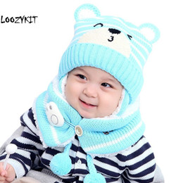 baby thermal sets Australia - 2 pcs Warm Hat Suit Baby Boy Girls Thermal Knitted Cartoon Bear Hat Scarf Toddler Winter Fleece Cap Set