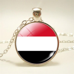 pendant cabochon Canada - Hot Fashion Yemen National Flag World Time Gem Glass Cabochon Pendant Jewelry Long Link Chain Statement Necklaces Chokers For Women Men 2019