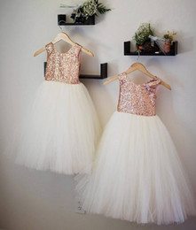 $enCountryForm.capitalKeyWord Australia - 2019 real rose gold Flower Girls' Dresses sequins tutu skirts Flower Girl Dresses lace For Teens custom made Formal Holy Communion Dresses