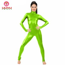 $enCountryForm.capitalKeyWord Australia - Jumpsuit Clubwear Stagewear Purim Party Pole Dancing Costumes Lemon Green Sexy High Collar Women Zip Patent Leather Bodysuit