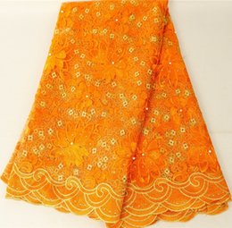 EmbroidErEd lacE yard online shopping - High Quality Nigerian Lace Fabrics Yards African French Lace Fabric For Gowns Dress Arabic Tulle Fabric