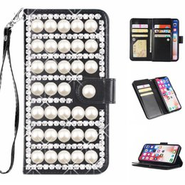 Luxury Credit Card Iphone Australia - Luxury 3D beige pearl rhinestone case for iphone X 6 6s 7 8 plus xr xs max with 9 credit card slot wallet leather ladies