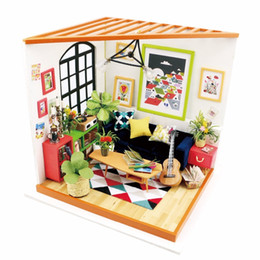 model house kit diy UK - wholesale DIY Locus Sitting Room DG106 with Furniture Children Adult Miniature Wooden Doll House Model Building Kits Dollhouse