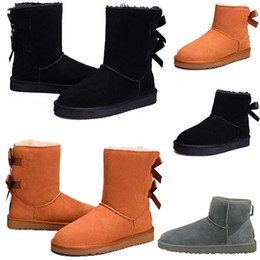 army green thigh high boots 2019 - 2019 Women Winter Snow Boots Fashion Australia Classic Designer Half Short bow boots Ankle Knee Bowknot girl lady Boot S