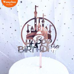 $enCountryForm.capitalKeyWord Australia - Dreaming Castle Acrylic Happy Birthday Cake Topper Prince Princess Theme Cake Decoration Party Supplies Baby Shower