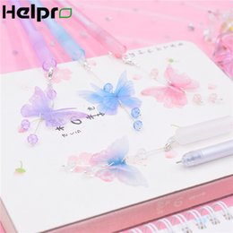 Pink Stationery Australia - Helpro 1PC Kawaii Cute Cartoon Gel Pen Butterfly Pendant Pink Girl Writing Pen School Stationery Gifts Supplies 0.5 mm Black Ink