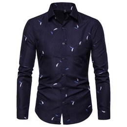 manga larga 2019 - Men's Fashion Shirts Male Printed Long Sleeve Shirts Slim Comfortable Long Sleeve Streetwear Blouse Camisas Hombre