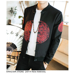 store clothes NZ - Sinicism Store Men Vintage 2020 Autumn Embroidery Jackets Mens Loose 5XL Streetwear Jackets Male Chinese Style Buckle Clothes