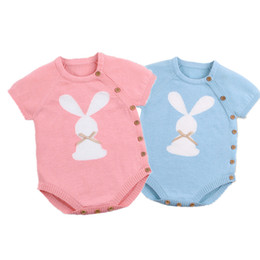 Discount baby jumpsuit bunny - 2019 Newborn Baby Boy Girls Bunny Knitting Wool cartoon Romper Jumpsuit Outfits Set Sleeveless baby boy girls clothes