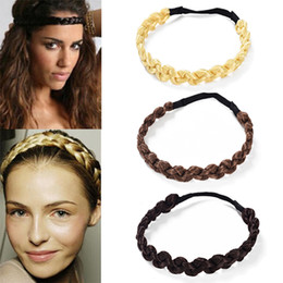 plaited hair bands NZ - MISM 2CM Wig Headband Braids Hair Accessories Women Hairstyle Plait Braided Hair Band Girls Elastic Hairband Female Headwear