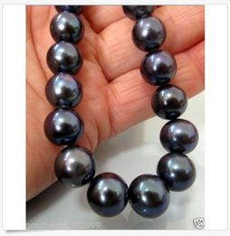 Perfect Gold Alloys Australia - PERFECT 10-11MM TAHITIAN AAA+ NATURAL BLACK PEARL NECKLACE 18INCH 14K GOLD