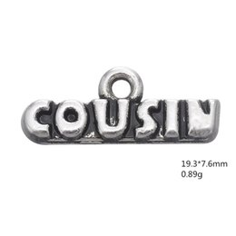make keychains UK - Vintage Ancient Silver Cousin Letter Family Pendant Charms Jewelry Accessories For DIY Handmade Keychains,Bracelets Making