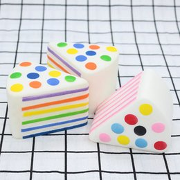 Cream for Cakes online shopping - Rainbow Triangle Cake Squishies Slow Rising Soft Jumbo Squishy Toys Cream Scented Cartoon Stress Relief Toy for Adults Boys Girls Gift