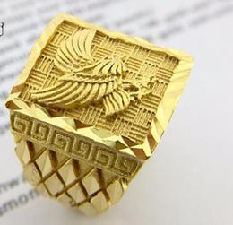 $enCountryForm.capitalKeyWord Australia - Mens Gold plated Eagle Ring Punk Biker fashion Vintage width Hawk band open ring luxury Jewelry