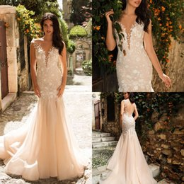 $enCountryForm.capitalKeyWord NZ - 2019 Mermaid Wedding Dresses Champagne Tulle Lace Appliqued Vintage Bridal Gowns Pageant Formal Wedding Dress Robe de mariee