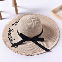 handmade hats for men UK - Summer Wide Brim Letter Sun Hats for Women Ribbon Bow Handmade Weave Straw Hat Ladies Outdoor Vacation Beach Hat Chapeu Feminino