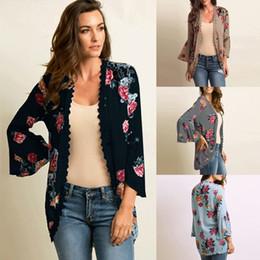 6c67de2789 Women Blouse Shirts Casual Kimono Cardigan Floral Print Open Front Boho  Loose Outerwear Beach Bikini Cover Up Sun-proof Top 2019