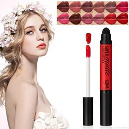 nude lips 2019 - 2 In 1 Matte Multi-color Dyed Lip Gloss Long-lasting Waterproof Lip Liquid Lipstick with Sponge Head Makeup TSLM1 discou