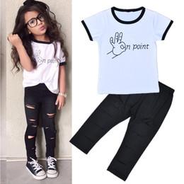 $enCountryForm.capitalKeyWord Australia - Trend Europe style Special design girls clothing sets fashion letters white T-shirt + hole trousers 2PCS children clothing girls