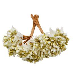 $enCountryForm.capitalKeyWord UK - 12pcs lot Mulberry Party Artificial Flower Stamen Wire Stem Marriage Leaves Stamen Diy Wreath Wedding Box Decoration Fake Flower