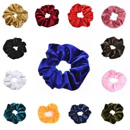Discount stretchy ponytails - Baby Girls Women Velvet Elastic Hair Scrunchy Solid Headband Ponytail Donut Grip Loop Holder Hair Ropes Stretchy Hair Ba