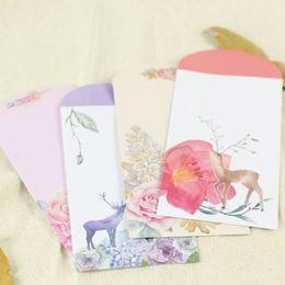 $enCountryForm.capitalKeyWord Australia - 5pcs BZNVN Creative cute hand-painted deer interesting Chinese style envelopes color card love letter vertical paragraph