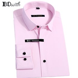 Solid Black Shirt For Men Australia - New Arrival Black Solid Shirts for Men Long Sleeved Shirt Male Social Business Dress Work Men Business Shirts Formal 4XL