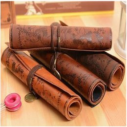 Pens milking online shopping - Vintage Treasure Map Pen Containers Rolled Pu Leather Buckle Make Up Bag Child Coin Purse Factory Direct zt E1