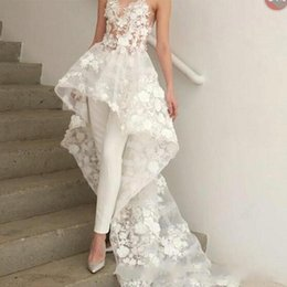 $enCountryForm.capitalKeyWord NZ - Designed Floral Appliques Wedding Dresses 2019 Sweetheart Neck Women Pants Suit Sweep Train with Flowers Even Formal Wear BC1820