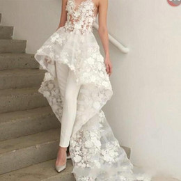 Wholesale Designed Floral Appliques Wedding Dresses Sweetheart Neck Women Pants Suit Sweep Train with Flowers Even Formal Wear BC1820