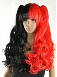 ponytails red long UK - WIG Cosplay wig red and black mixed long curly Wig + two ponytails