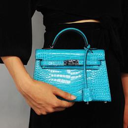 Micaela 2019 marka moda bayan tasarımcı lüks çanta cüzdan kadın timsah hakiki deri debriyaj crossbody çanta kadın çanta indirimde