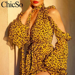 animal jumpsuits NZ - Missychilli Leopard Print Chiffon Women Playsuit Cold Shoulder V Neck Ruffle Sexy Romper Party Bandage Summer Jumpsuit Overalls C19041102
