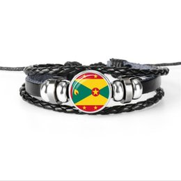 $enCountryForm.capitalKeyWord UK - Popular Leather Rope Beaded Womens Mens Bracelet Metal Greenland National Flag World Cup Football Fan Time Gem Glass Cabochon Button Jewelry