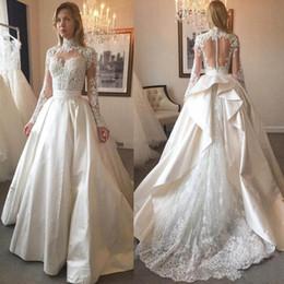 $enCountryForm.capitalKeyWord Australia - Modest High Neck Long Sleeve Ball Gown Wedding Dresses Lace Appliques Sequin Ruffles Bridal Dress Satin See Through Back Wedding Gowns