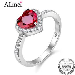 $enCountryForm.capitalKeyWord Australia - Almei Popular Red Heart Cut Garnet White CZ Halo Wedding Rings 925 Sterling Silver Women Ring Dropshipping with Box 10% CJ007