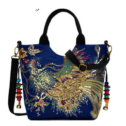 Peacock Bags Australia - good quality Women Canvas Peacock Embroidery Handbags Shoulder Bag Stylish Tote Bags Casual Cross-body Bag With Decorative Pendants