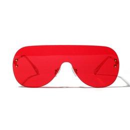 $enCountryForm.capitalKeyWord Australia - One Piece Large Frame Sunglasses Female Siamese Rimless Glasses Men's Personality Fashion New Big Frog Mirror Unisex Uv400