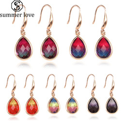 gold pendant designs for girls Australia - New Waterdrop Colorful K9 Crystal Pendant Dangle Earring for Women Girl Unique Design Geometric 18K Gold Hook Earring Fashion Jewelry Gift