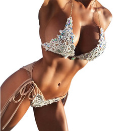 c85696647647c Hand-woven beaded binding tape deep v neck Push-up padded bra halter off  shoulder backless swimsuit Set Beachwear 40fb20