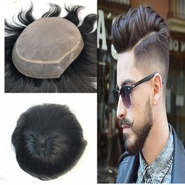 $enCountryForm.capitalKeyWord NZ - Mono Lace Human Hair Toupee Fine Mono WithThin Pu Mens Toupee Replacement System Men Hair 100% Indian Human Hair Straight Toupee Hairpiece