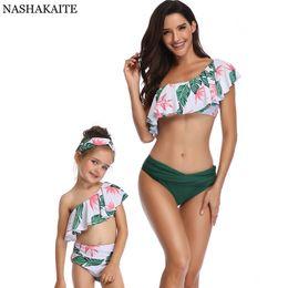 33edf1c5685 Mother Daughter Swimwear Australia - Nashakaite Swimsuit Mother Daughter  Summer Beach Matching Swimsuit Tropical Print Family