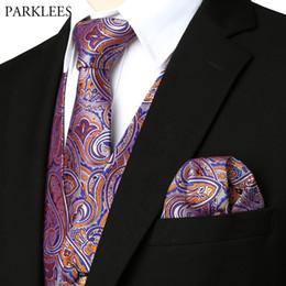 Discount men elegant vest - Mens Elegant 3pcs Jacquard Paisley Vest Set 2019 Brand New Slim Fit Wedding Party Banquet Dress Vests Men(Necktie+Pocket