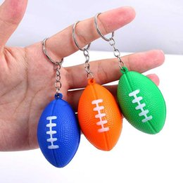 foam footballs wholesale Canada - 5pcs 3D Sports Football Key Chains Souvenirs Keyring For Men Soccer Fans Soft Foam Fetch Keychain Pendant For Boyfriend Gifts