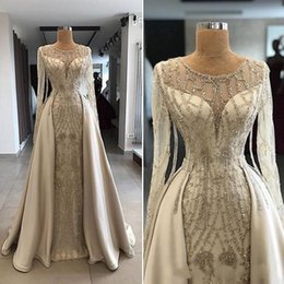 Sparkly bodice party dreSS online shopping - 2019 Sparkly Overskirts Crystal Evening Dresses with Sheer Jewel Long Sleeve Bodice Accented Beaded Prom Dresses Floor Length Party Gowns